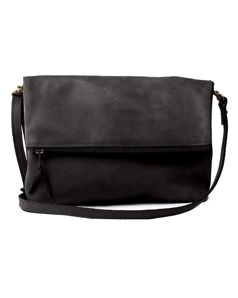 ABLE Emnet Foldover Crossbody black leather