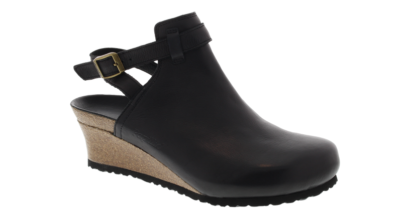 Papillio Esra black leather licensed by Birkenstock