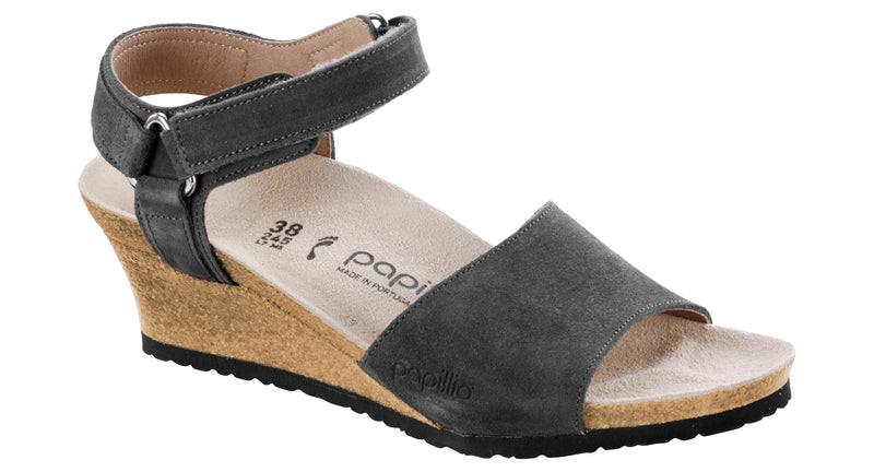 Papillio Eve smooth anthracite suede licensed by Birkenstock
