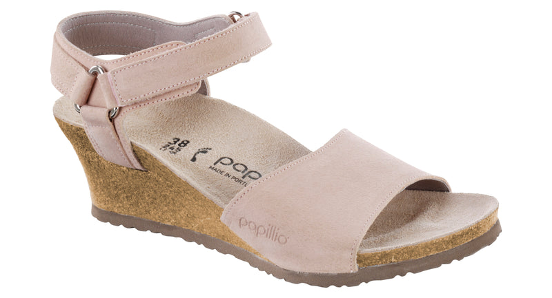 Papillio Eve smooth rose suede licensed by Birkenstock