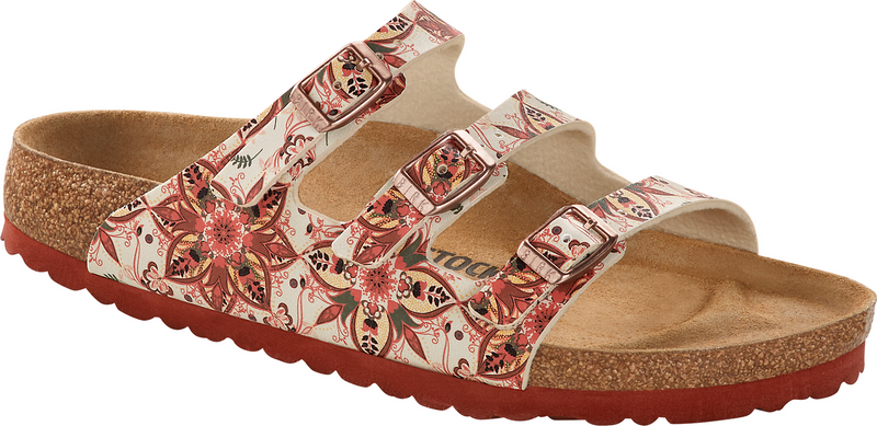 Birkenstock Florida Fresh boho flowers earth red Birko-Flor