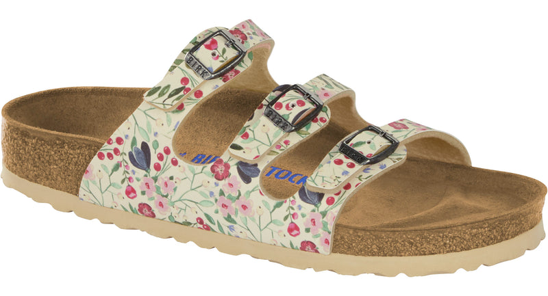 Birkenstock Florida Soft Footbed meadow flowers beige Birko-Flor