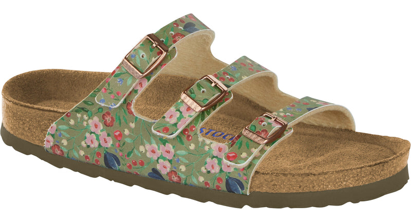 Birkenstock Florida Soft Footbed meadow flowers khaki Birko-Flor