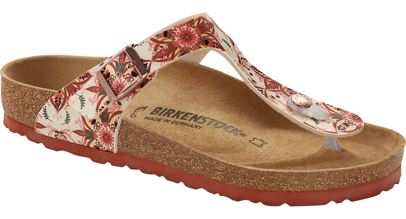 Birkenstock Gizeh boho flowers earth red Birko-Flor