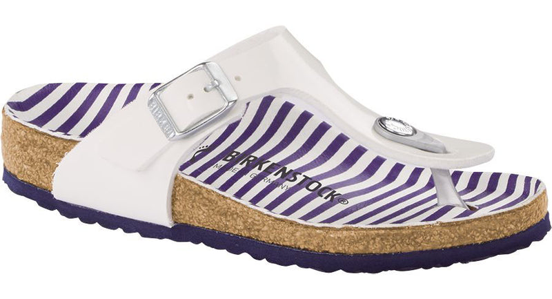 Birkenstock Kid's Gizeh nautical stripes white Birko-Flor