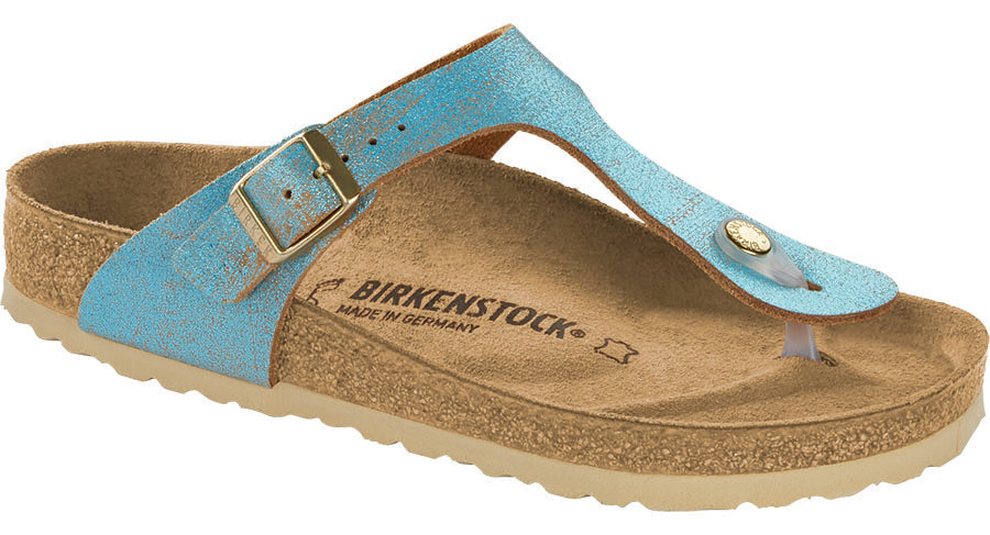 Birkenstock Gizeh washed metallic aqua leather