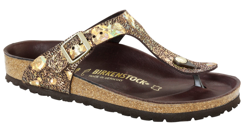 Birkenstock Gizeh Lux spotted metallic brown leather