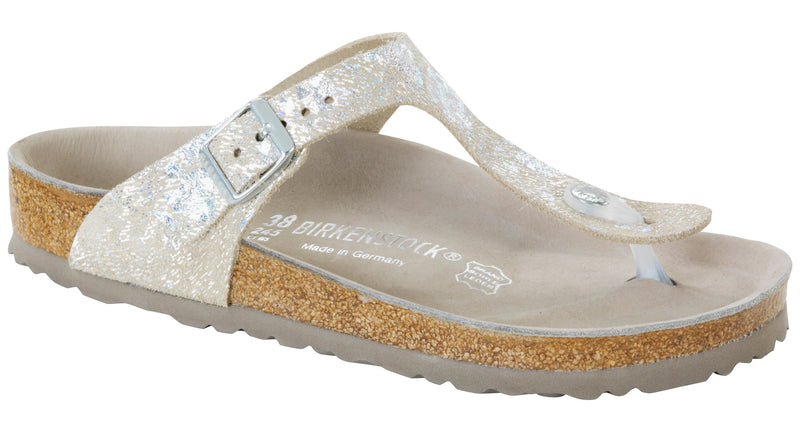 Birkenstock Gizeh Lux spotted metallic silver leather