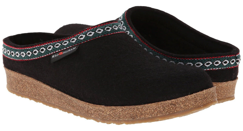 Haflinger GZ Grizzly Clog black wool felt