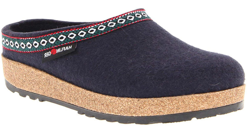 Haflinger GZ Grizzly Clog navy wool felt