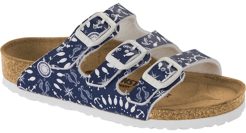 Birkenstock Kid's Florida nautical print blue Birko-Flor