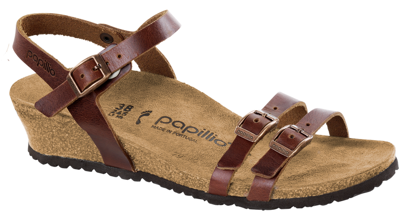 Papillio Lana cognac leather by Birkenstock