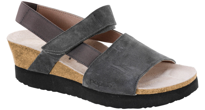 Papillio Linda smooth anthracite suede licensed by Birkenstock