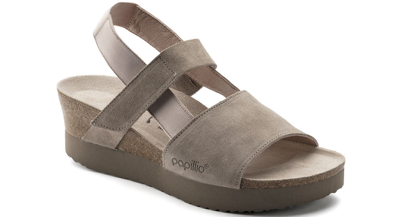 Papillio Linda smooth taupe suede licensed by Birkenstock
