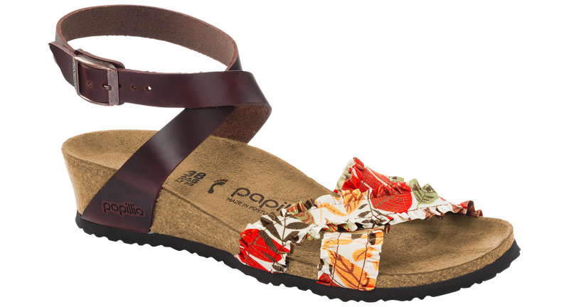 Papillio Lola flower frill brown leather by Birkenstock