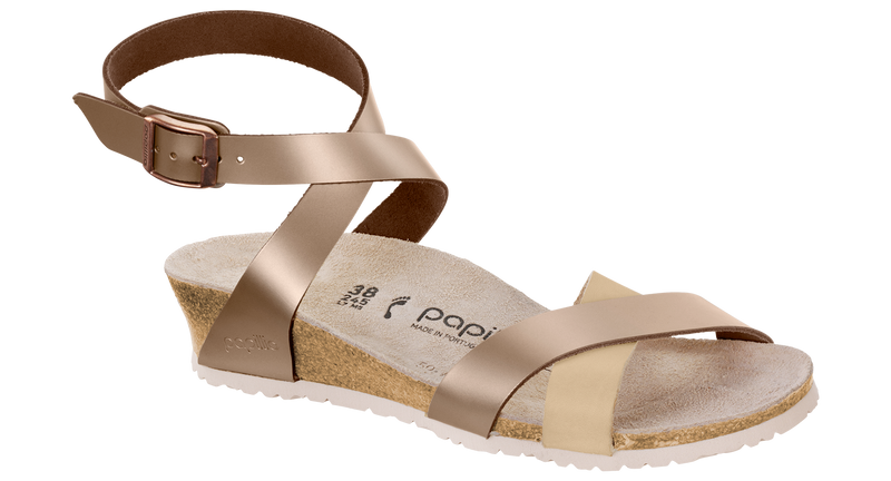 Papillio Lola frosted metallic rose leather by Birkenstock