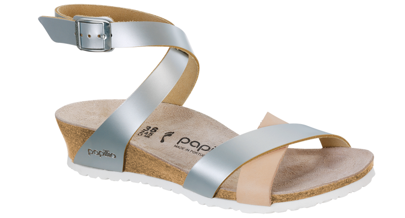 Papillio Lola frosted metallic silver leather by Birkenstock