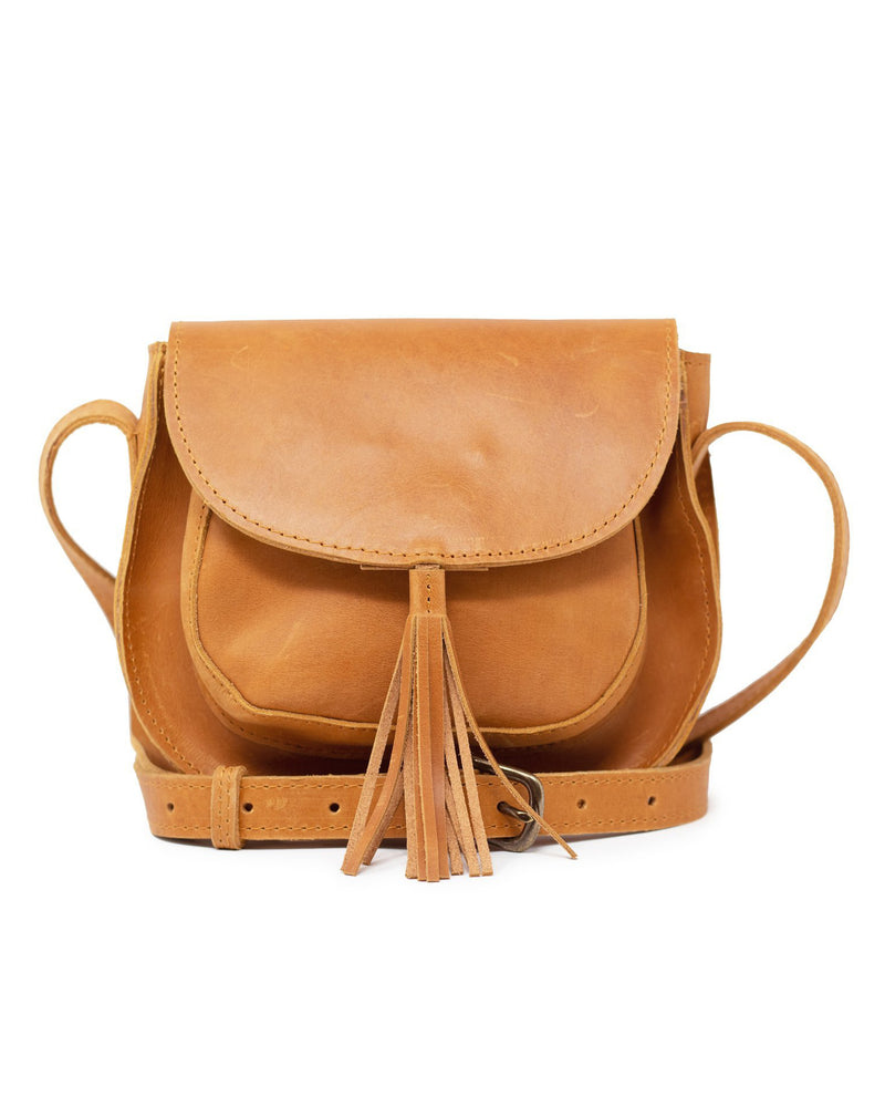 ABLE Maria Tassel Crossbody cognac leather