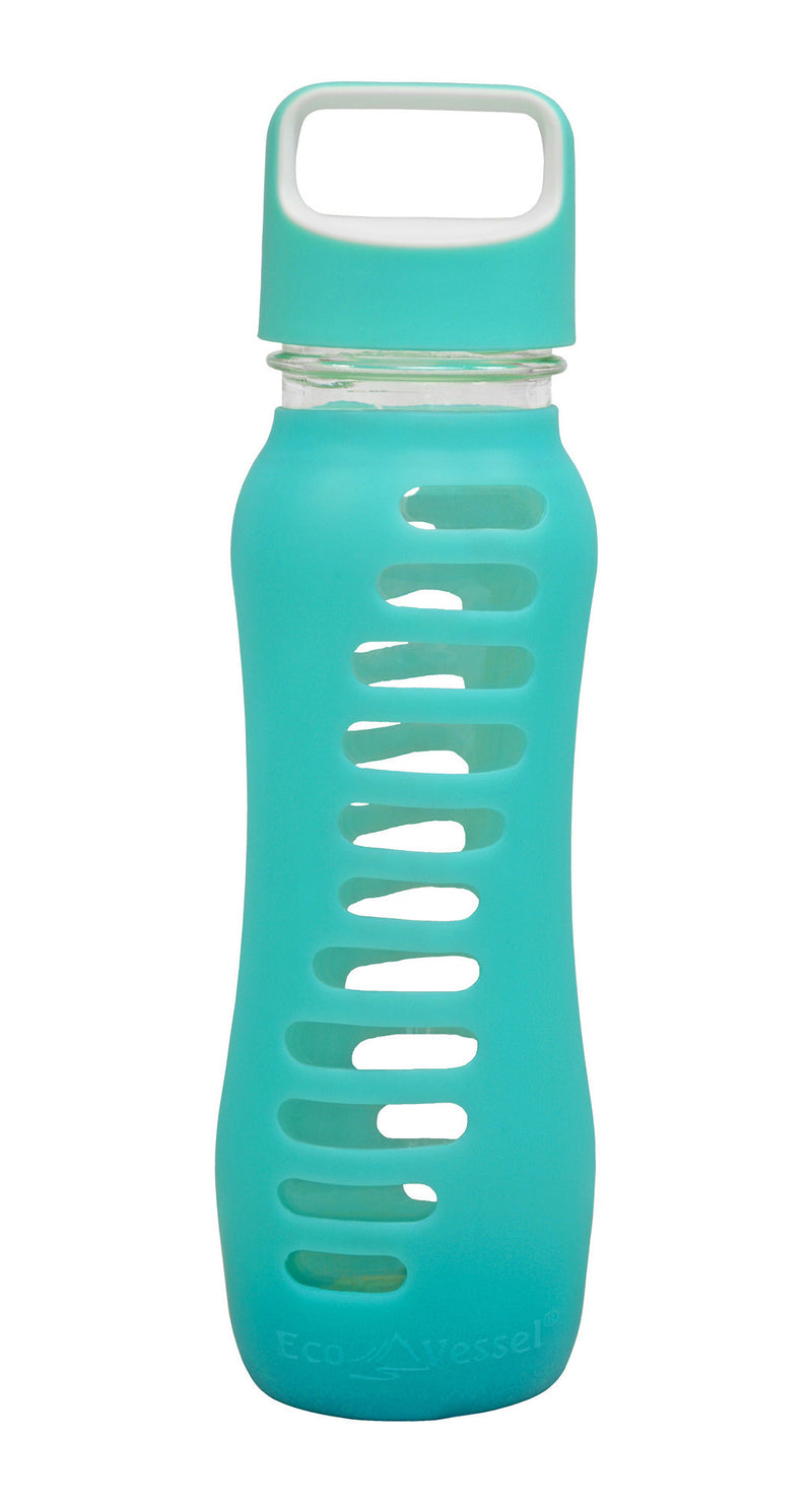 "EcoVessel ""Surf"" Single Wall Glass Bottle w/ Screw Top - 22 oz."