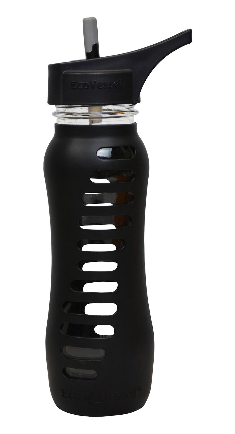 "EcoVessel ""Surf Sport"" Single Wall Glass Bottle w/ Straw Top - 22 oz."