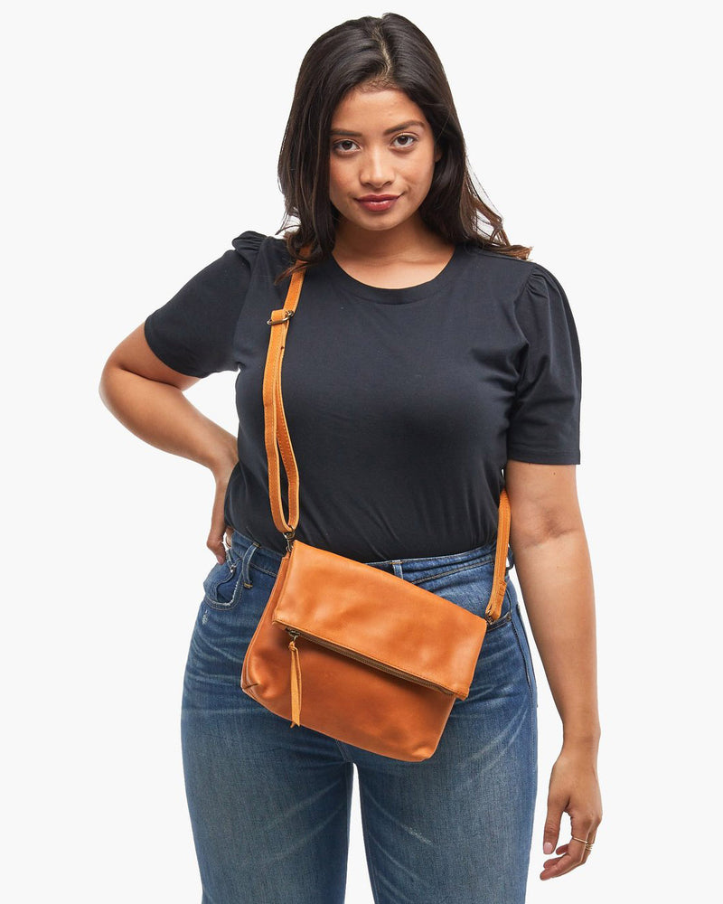 ABLE Small Emnet Foldover Crossbody leather