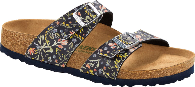Birkenstock Sydney Vegan watercolor flower navy Birko-Flor