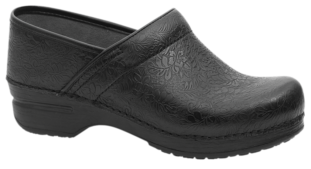 Dansko Professional XP black floral tooled