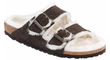 Birkenstock Arizona mocha suede with white shearling