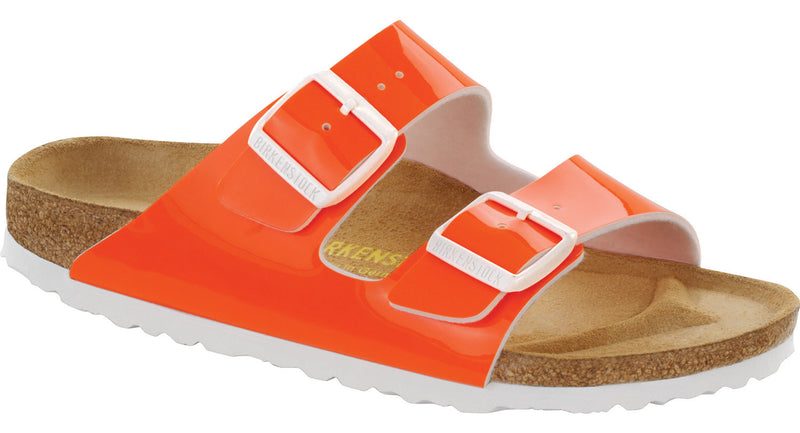 Birkenstock Arizona neon orange patent Birko-Flor