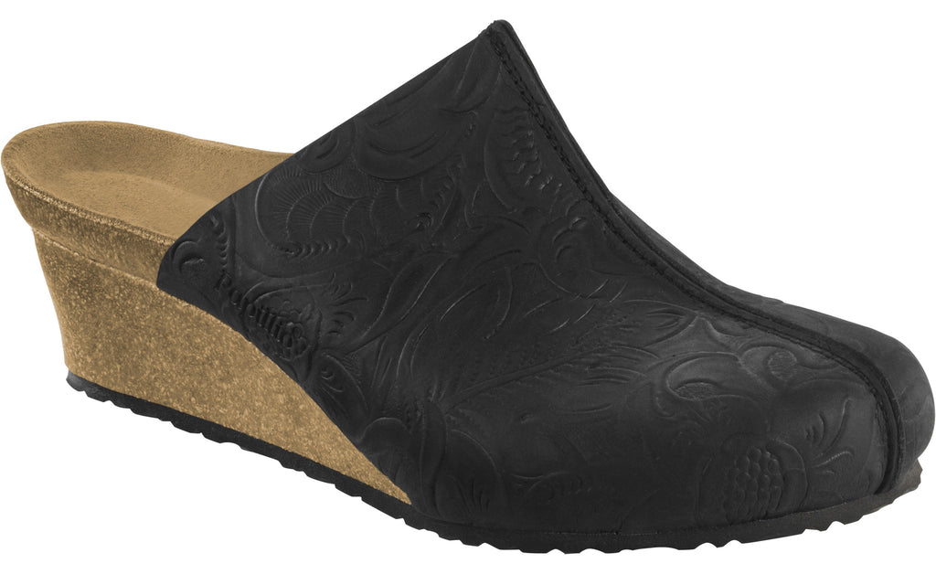 Papillio Dolores relief black nubuck licensed by Birkenstock