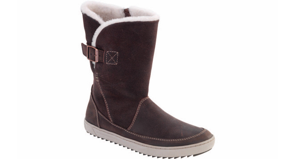 Birkenstock Woodbury dark brown nubuck with shearling