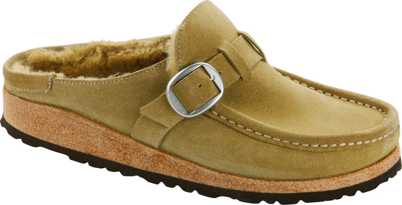 Birkenstock Buckley Shearling olive tree suede