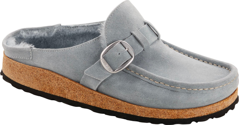 Birkenstock Buckley Shearling dusty teal suede