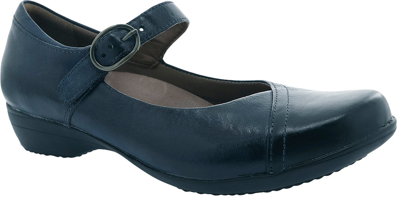 Dansko Fawna navy burnished calf leather