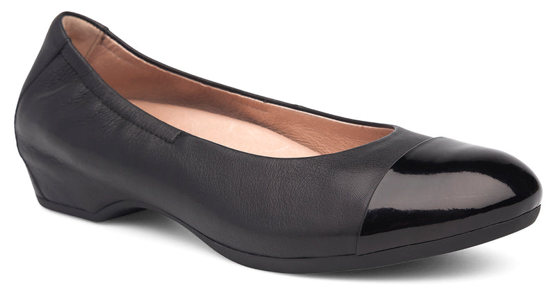 Dansko Lisanne milled leather black patent tip