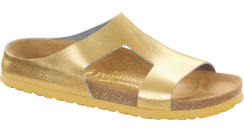 Papillio Charlize metallic gold leather licensed by Birkenstock