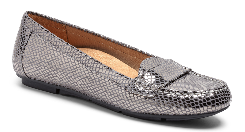 Vionic Chill Larrun gunmetal snake leather