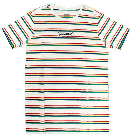 DOOMED STRIPER T-SHIRT - WHITE/GREEN