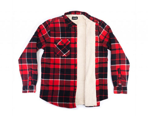 DOOMED PLAID LAD SHERPA SHIRT - RED/BLACK