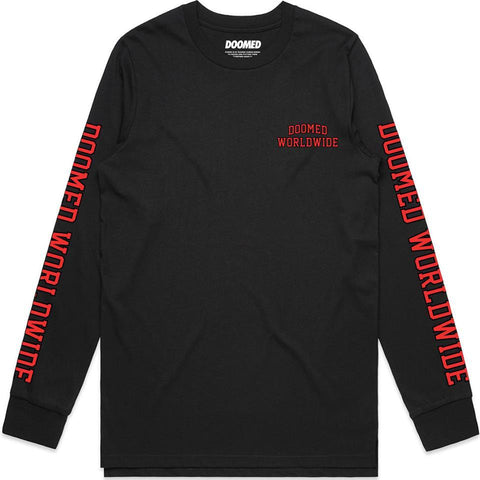 DOOMED PLAY SPORTS LONG SLEEVE T-SHIRT - BLACK