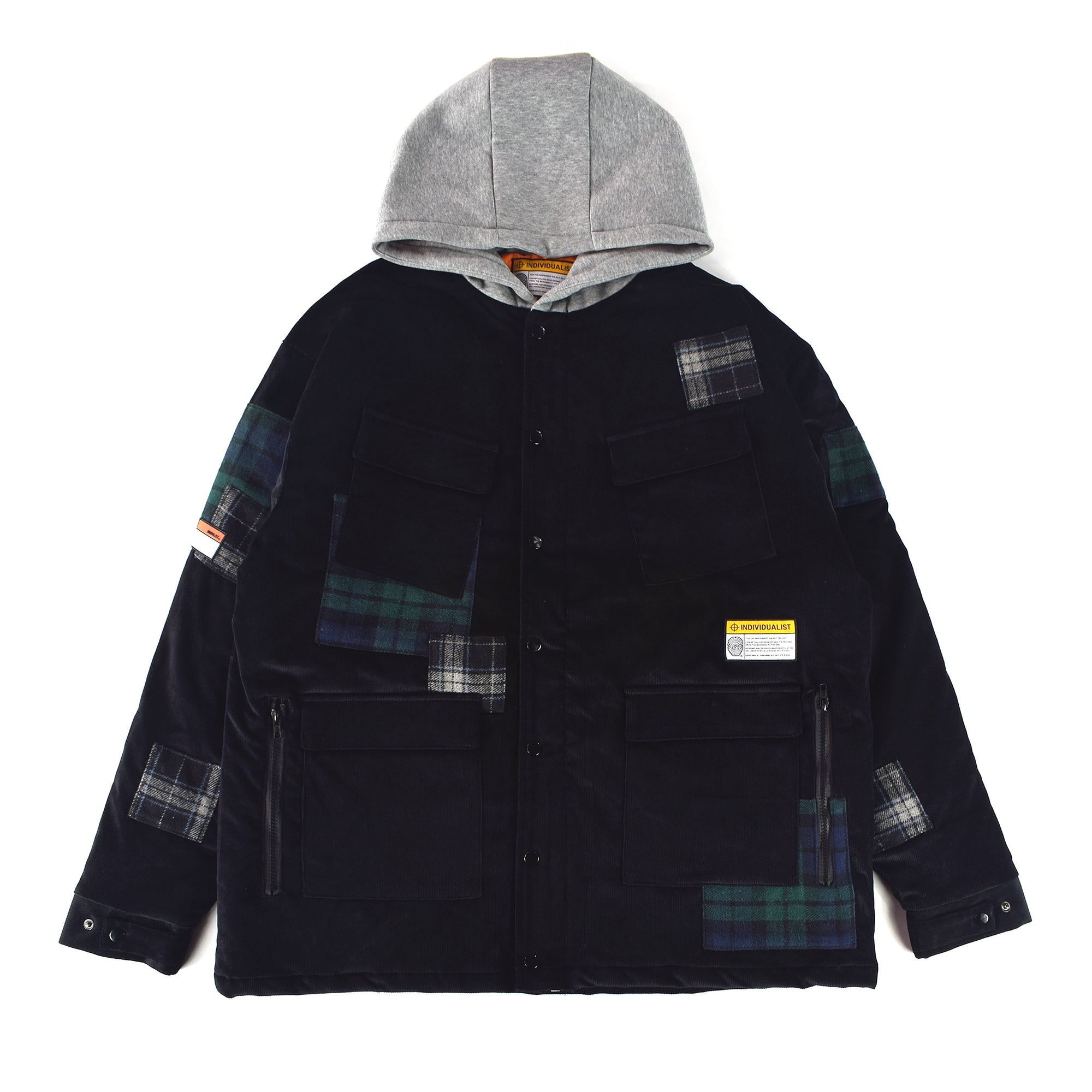 Patchwork : Corduroy Hooded Work Jacket