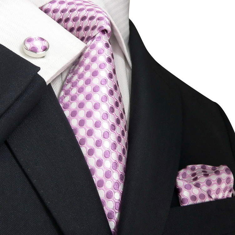Lilac and White Silk Necktie Set JPM11N - Toramon Necktie Company
