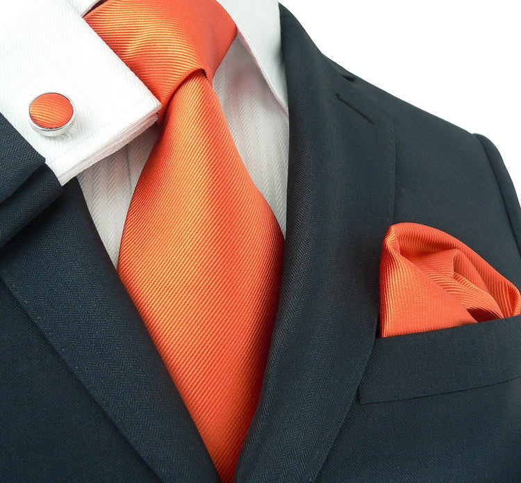 Solid Orange Wedding Necktie Set JPM18139