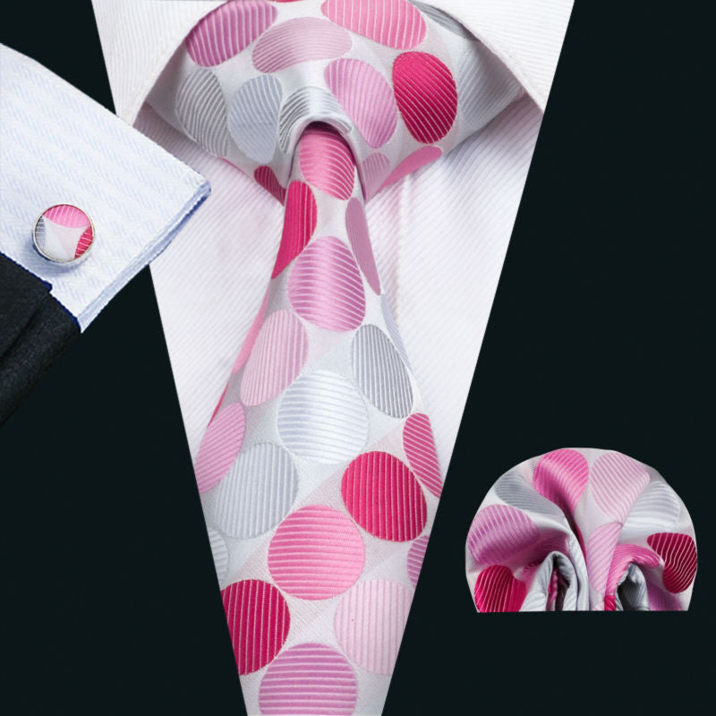 Pink and Gray Polka Dot Necktie Set LBW1442
