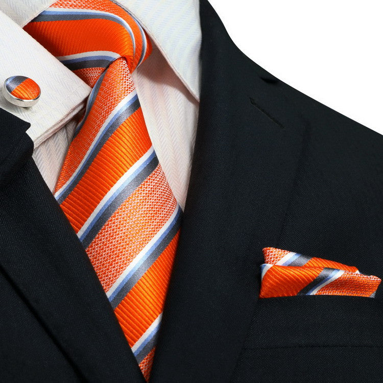 Orange,Gray,Blue and White  Necktie Set JPM14N - Toramon Necktie Company