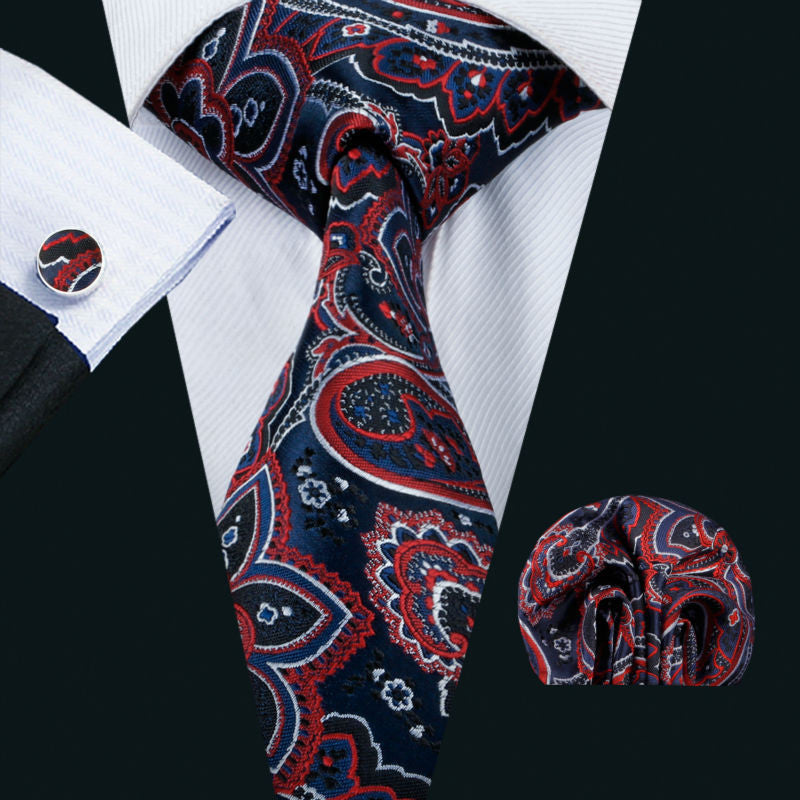 Red,Black,Blue and White Silk Pasiley Necktie Set LBW1503