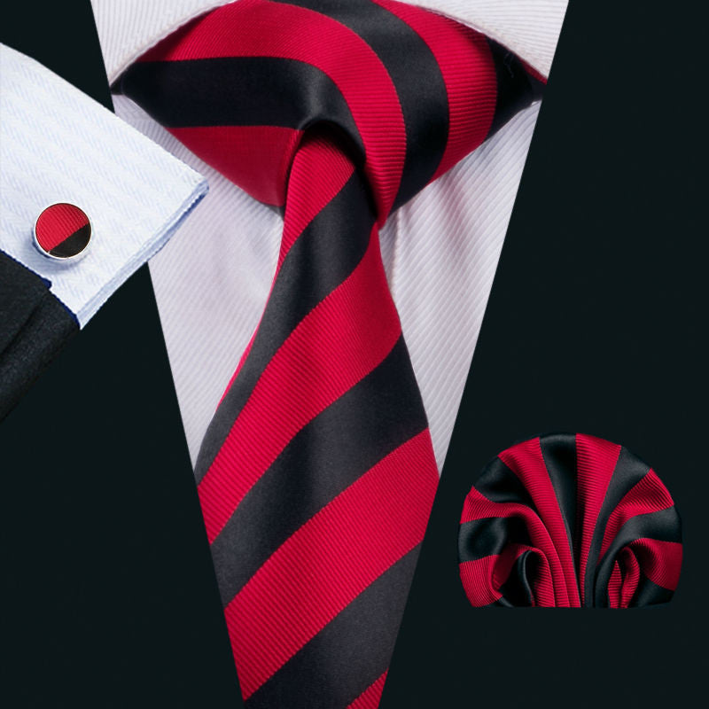 Red and Black Striped Silk Necktie Set LBW1541