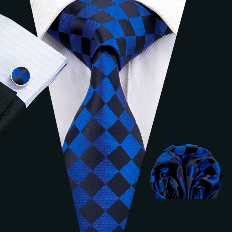 Blue and Black Silk Necktie Set LBW1572