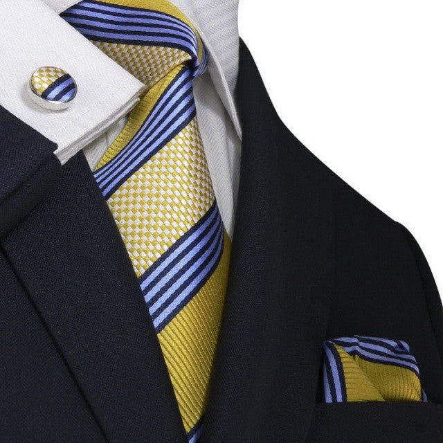 Gold/Blue and White Stripe JPM1815N - Toramon Necktie Company