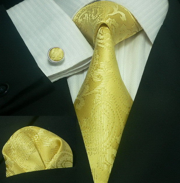 Yellow Gold Paisley  Necktie Set  JPM164